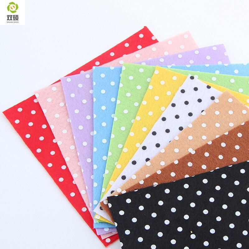 Print polka dot polyester felt fabric cloth diy handmade for Cloth material for sewing