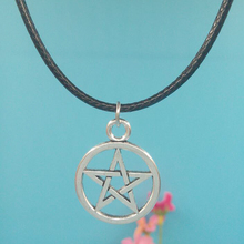 Supernatural 25x20MM Pentagram Star Pendant Necklace With 45cm Leather Chain Christmas Gift Choker Collar Vintage Silver Jewelry