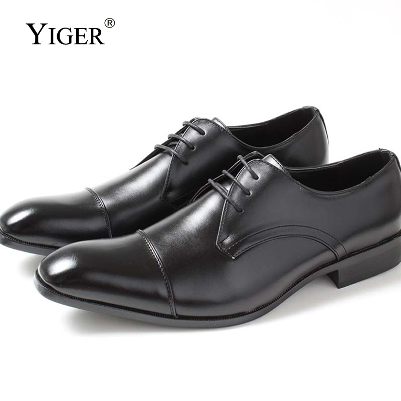 6a7633ce072 YIGER New Men Dress shoes Genuine Leather Pigskin Man Business shoes  Lace-up Black Brand high-end men s shoes wedding shoes 0261