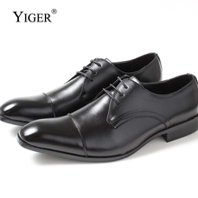 YIGER New Men Dress shoes Genuine Leather Pigskin Man Business Lace-up Black Brand high-end mens wedding 0261