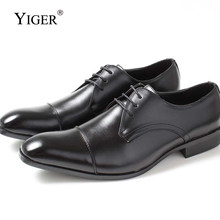 111d15ef1 YIGER Новый Для мужчин платье обувь натуральная свиная кожа мужская деловая  обувь на шнуровке черный бренд high-end мужские туфл.
