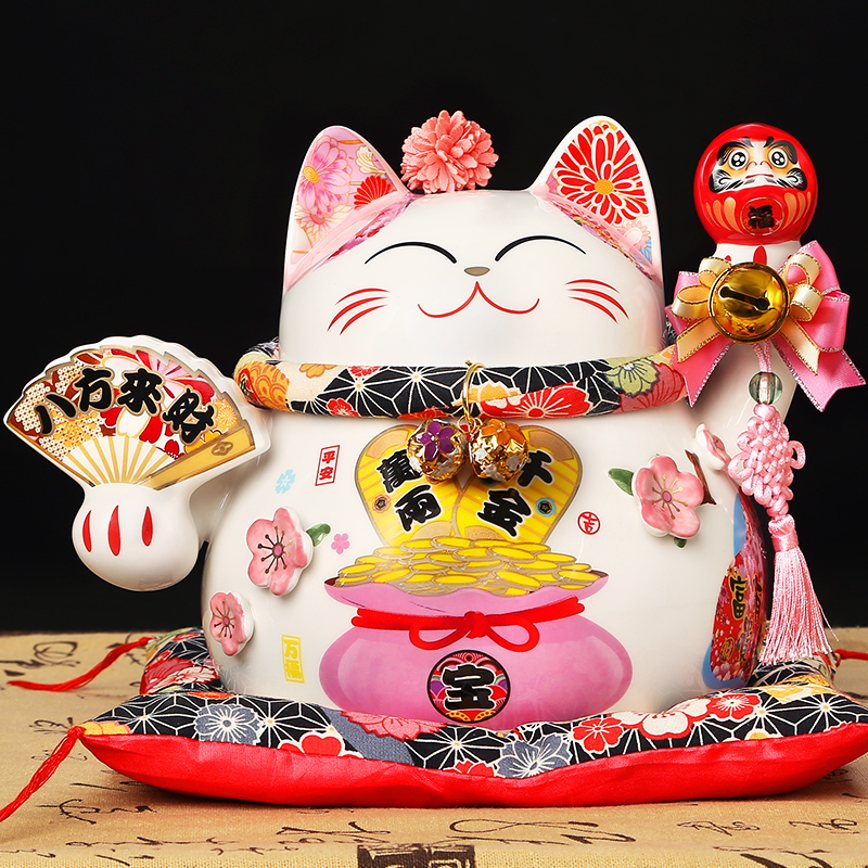 Ceramic Lucky cat ornaments cashier crafts home fortune gift shop opening gift