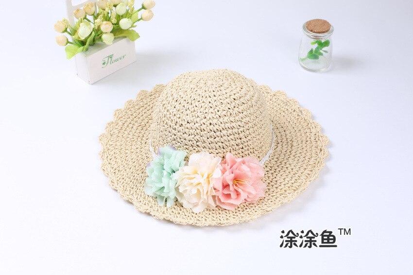 Модная летняя стильная цветная Цветочная широкополая пляжная шляпа с широкими полями для маленьких девочек, соломенная шляпа от солнца, 9 цветов - Цвет: beige