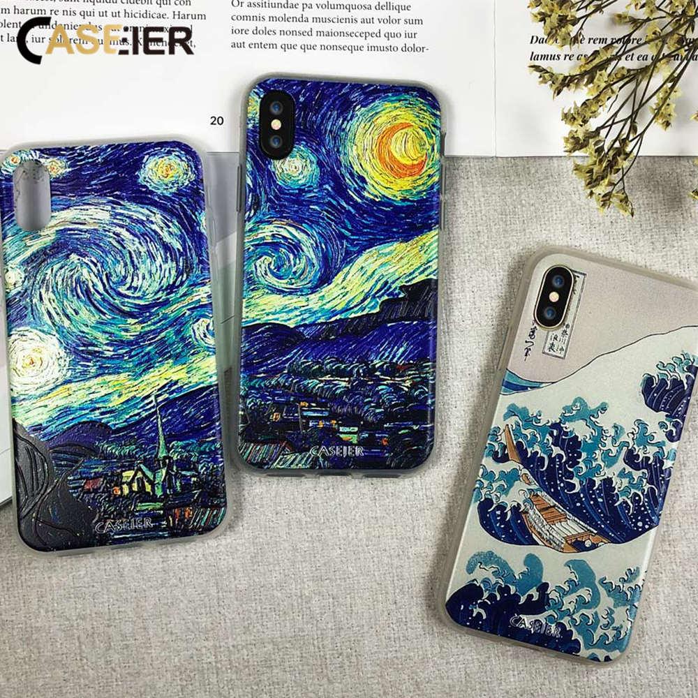CASEIER Caso Para o iphone 6 6s 7 8 Plus Cobertura Coque Van Gogh Noite estrelada Para Casos iPhone 5 5S SE 8 Alívio Impressão Capa Acessórios Capinha