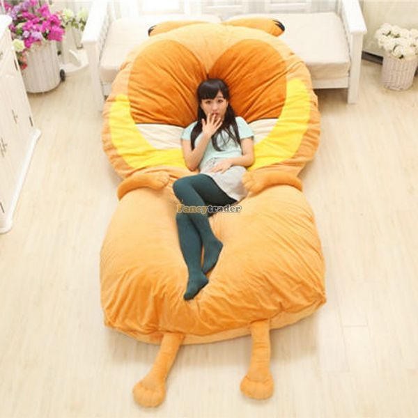 Fancytrader 220cm X 150cm Soft Giant Cute Stuffed Garfield Cat Bed Carpet Tatami Mattress Sofa, Nice Gift, Free Shipping FT50322 fancytrader new style giant plush stuffed kids toys lovely rubber duck 39 100cm yellow rubber duck free shipping ft90122
