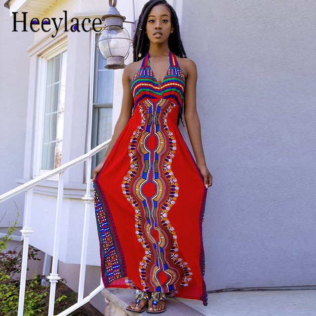 0cd2a6d4379 African Print Maxi Dress Women Fashion Style Totem Pattern Halter Evening Attire  Long Dashiki Dress African Traditional Clothing