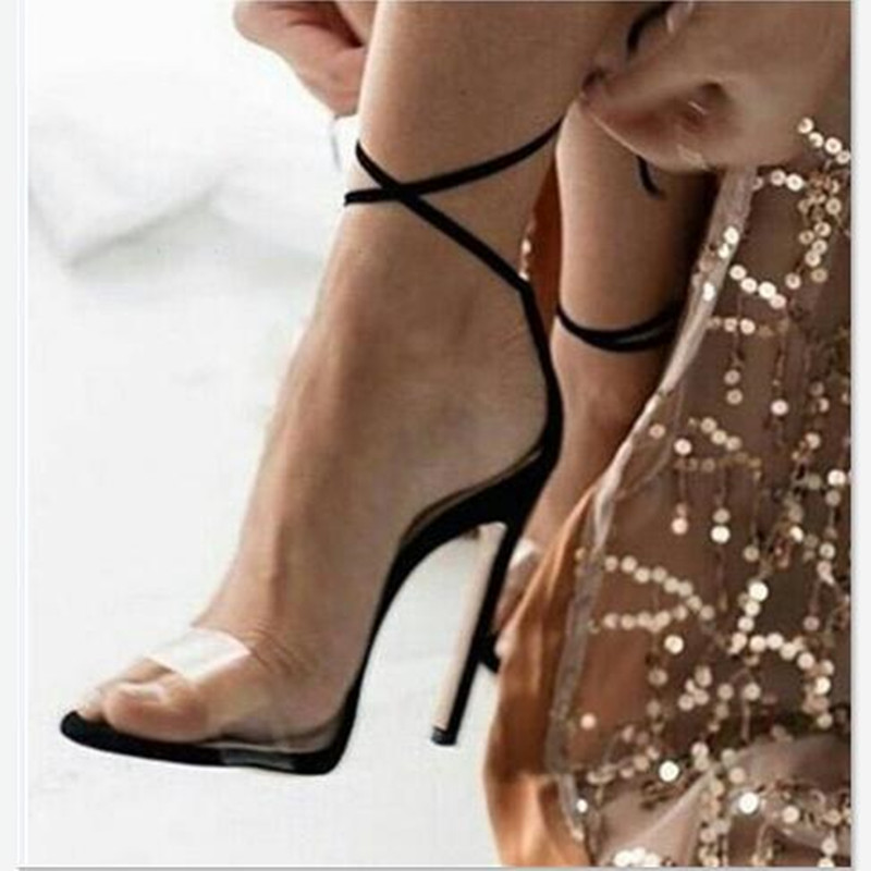 ФОТО 2017 Hot Selling Minimalism Super High Heels Sandals Women Summer Sexy Buckle Transparent Two Style Design Shoes Woman Sandals