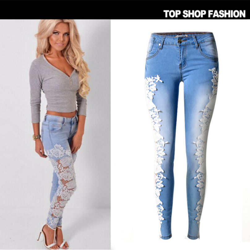 Liva Girl women clothing low waist tight elastic pure cotton denim pants Lady fashion hollow-out lace patchwork pencil jeans