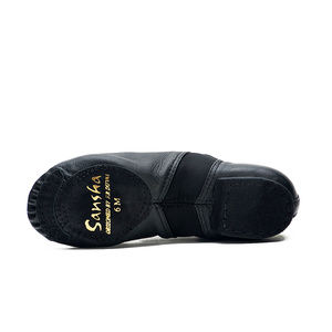 Image 4 - Sansha Unisex Lace up Jazz Shoes Leather With Neoprene Suede Split sole Cushioned Heel Women Men Jazz Salsa Dance Shoes JS2LPI