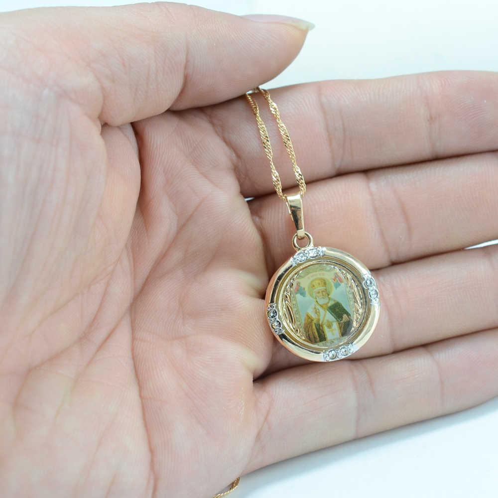 Anniyo nowy St. Nikolas rosja święty mikołaj naszyjnik wisiorek biżuteria prawosławny naszyjnik łańcuchy dla kobiet/mężczyzn #003804