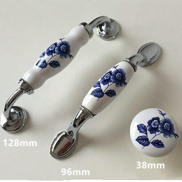128mm Blanc Et Bleu Porcelaine Dresser Armoires De Cuisine Porte Poignées 5
