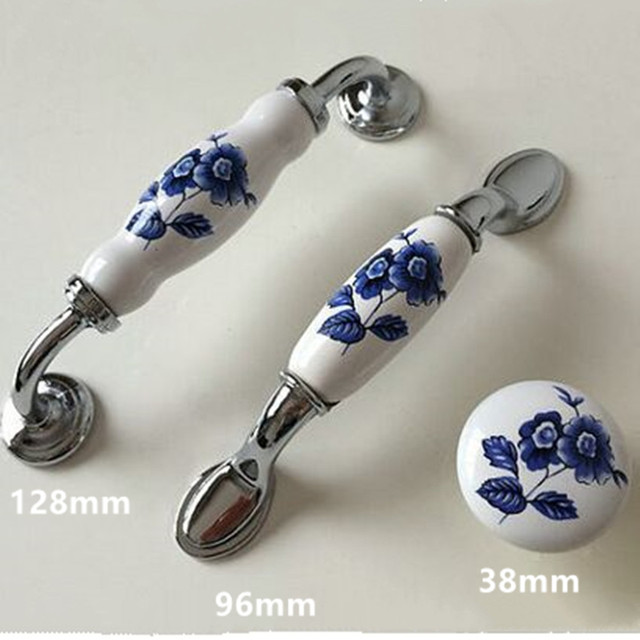 128mm White And Blue Porcelain Dresser Kitchen Cabinet Door Handles 5 Silver Chrome Drawer Tv