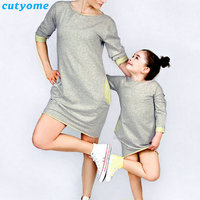 Family Look Mother Daughter Matching Sport Dress Half Sleeve Dresses For Kids Girls Women Mom And