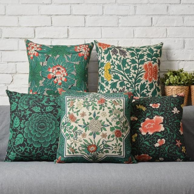 Modern New Chinese Green Floral Oriental Garden Ikea Sofa Cushions