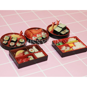 Image 1 - 2PCS1/6 Scale Miniature Janpanese Sushi Rice Roll for Dollhouse Decor Pretend food for blyth Barbies bjd dollhouse kitchen toys