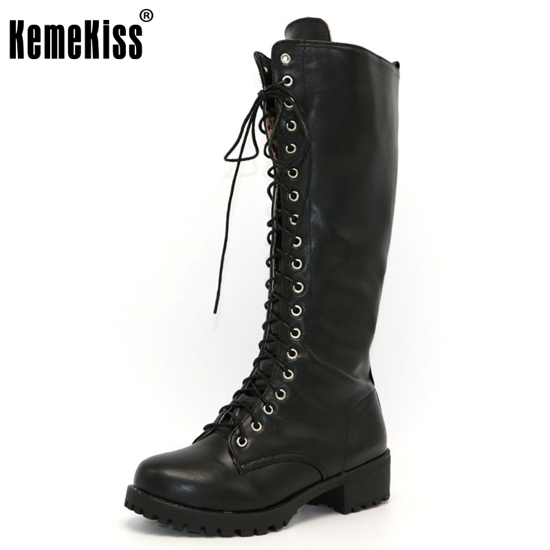 KemeKiss New Designer Womens Square Low Heel Riding Motorcycle Heel Knee High Boots Punk Gothic Platform Lace Up Shoes Size34-43 punk platform creepers shoes womens round toe patent leather block high heel pumps lace up riding ankle boots shoes plus size