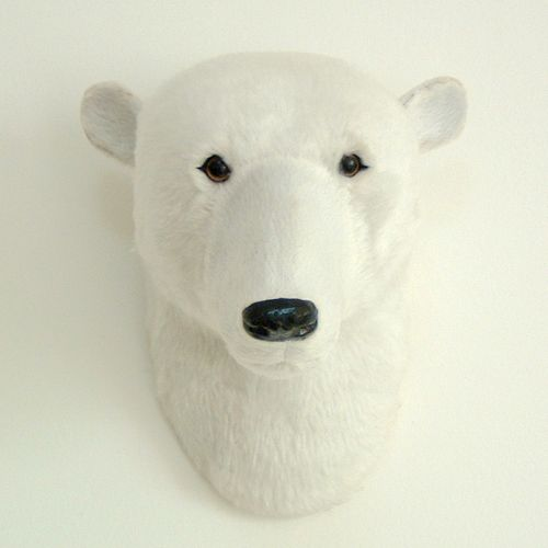 free shipping artificial polar bear head gift polar bear head wall decoration mini polar ...