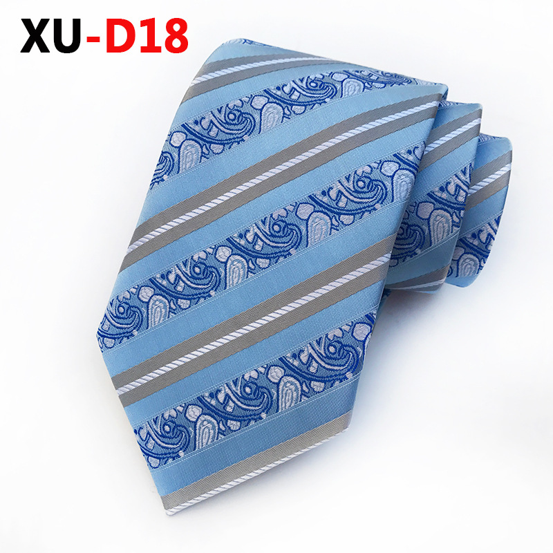 2018 New Blue Paisley Tie With Silver & Charcoal Stripes It Will Make Your Outfit Look Stunning