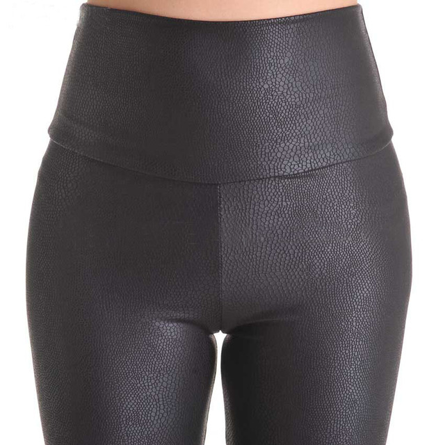 2018 New Sale Fashion Serpentine Sexy Leggings Womens Leggins Stretch High Waist quality Faux Leather Pants Plus Size YAK0010 2