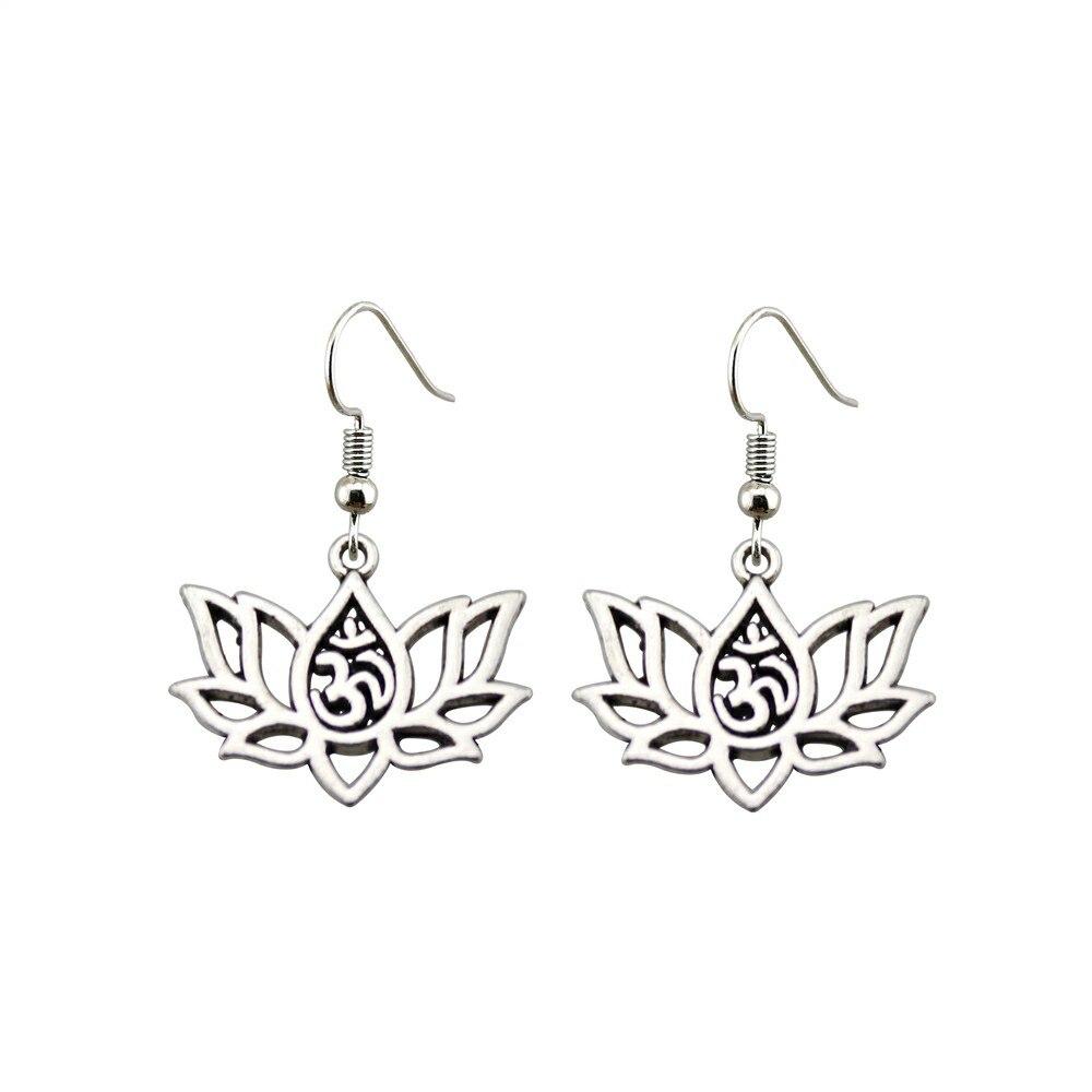 Women's Om Lotus Drop Earrings 2