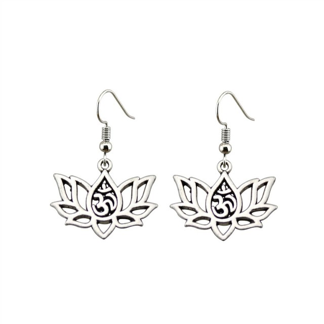 Women's Om Lotus Drop Earrings 2