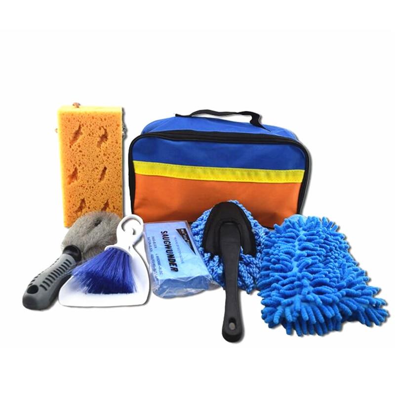 7pcs/set Car Cleaning Tools Car Wash Kit Interior Exterior Cleaning Sponge Brush Towel Bag