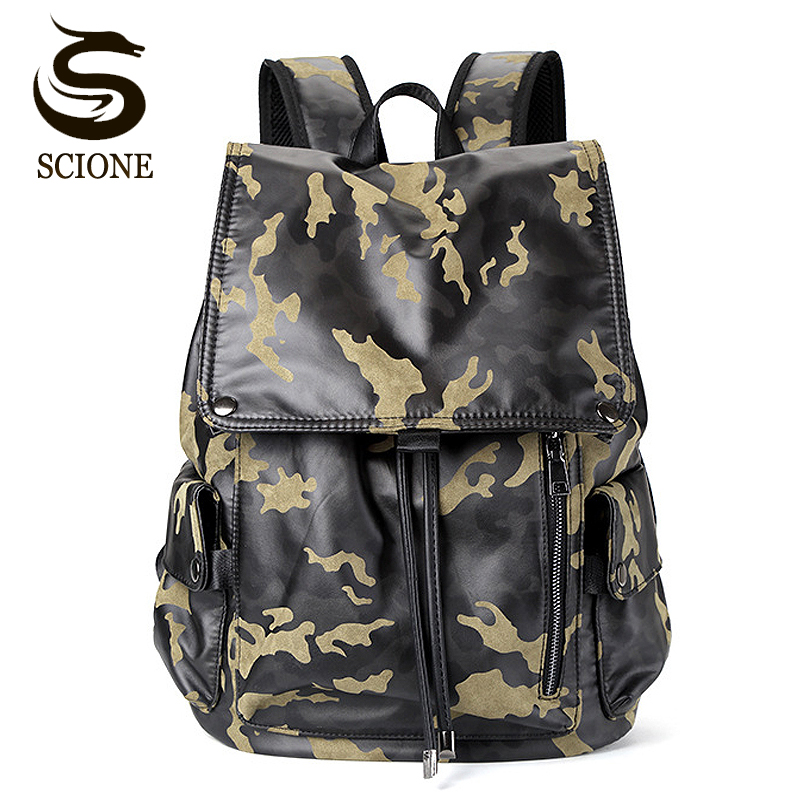 Men PU Leather Backpacks Mens Fashion Camouflage Backpack & Travel Bags Male High College School Bags Rucksack Mochila Masculina new 2016 brand high quality leather backpack men casual laptop backpacks college style school book bags mochila rucksack 112zs