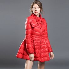 2016 winter coats woman Year winter female new collar jacket tide bowknot is pure color down jacket Women's winter jacket Red