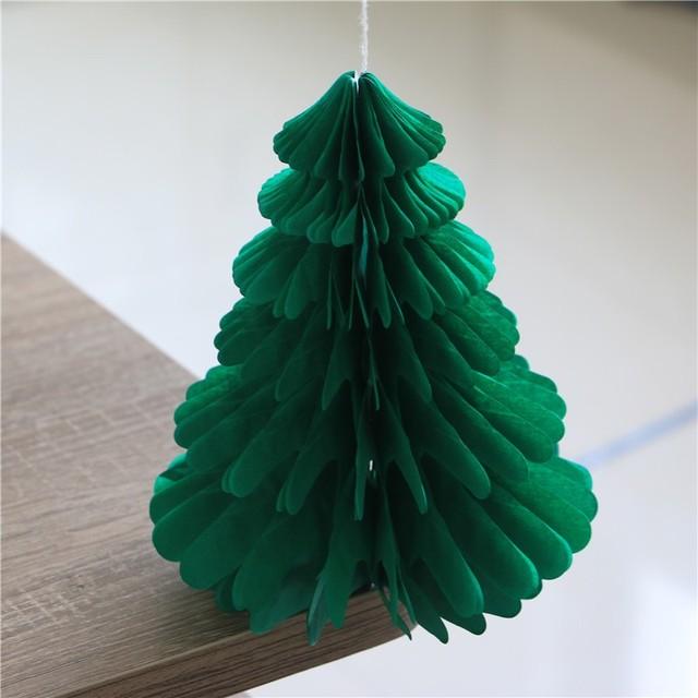1pcs Lot Christmas Tree Style Honeycomb Festival Green Paper Diy