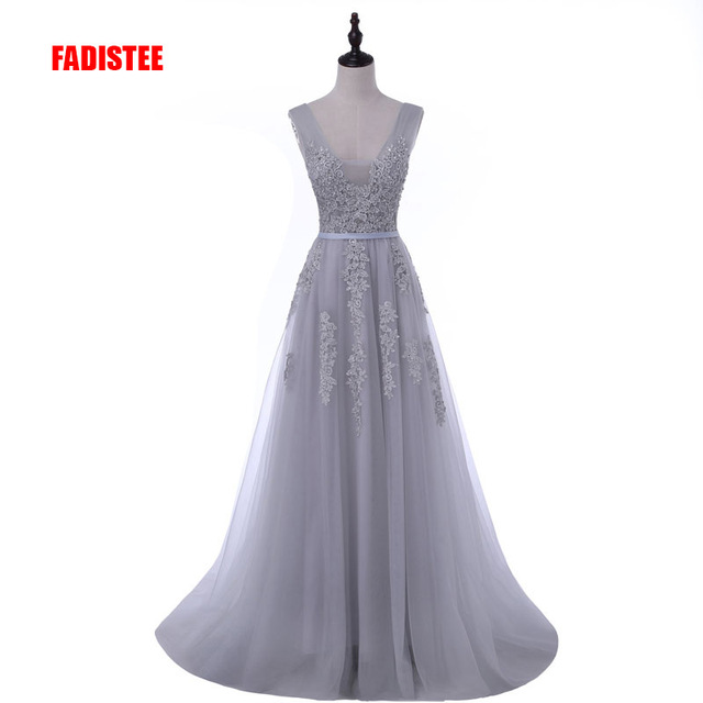 FADISTEE Vestido De Festa Sweet pink Lace V-neck Long Evening Dress Bride Party Sexy Backless beads pearls Prom Dresses lace-up 1