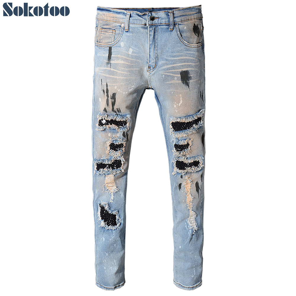 Sokotoo Men's Vintage Holes Rivet Patch Slim Skinny Ripped Jeans Casual Trendy Painted Distressed Denim Beggar Pants