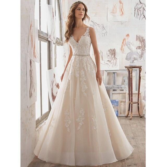 A-Line Bridal Gown Crystals Beaded Lace Appliques Wedding Dress Plus Size 2017 Vintage Keyhole Back Vestidos De Novia  WA150
