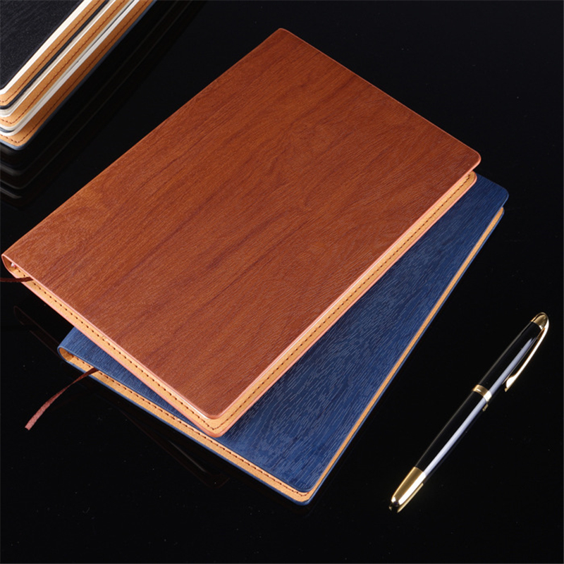 Creative Wood Grain A5 Leather Notebook School Supplies Stationery Vintage Fashion Diary Notebooks Office Business Notepad Gift creative leather notebook a5 school office supplies stationery cute diary notebooks metal rubber buckle conference notepad gift