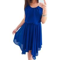 New Boho Chiffon Dress 2018 Summer Beach Sundress Fashion O Neck Sleeveless Pleated Party Dresses Women