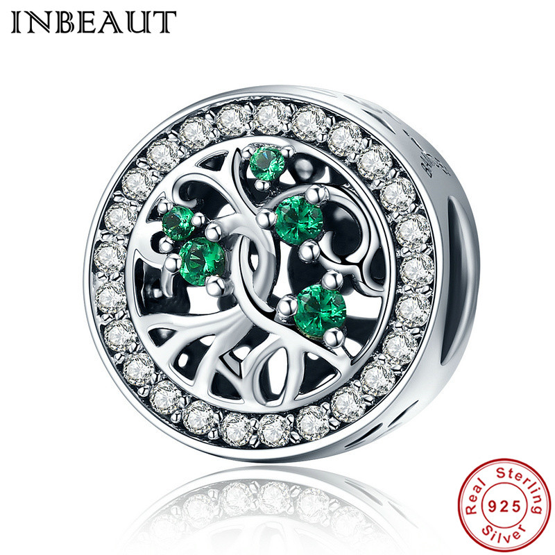 INBEAUT Hot Sale Genuine 925 Sterling Silver Tree Of Life Beads Green CZ Charm Fit Pandora Bracelet DIY Jewelry Gift