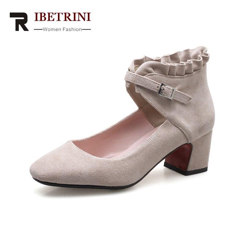 Ritrahini nouveau femmes talons carrés bride à la cheville bout carré chaussures solides femme escarpins décontractés rouge grande taille 33-43