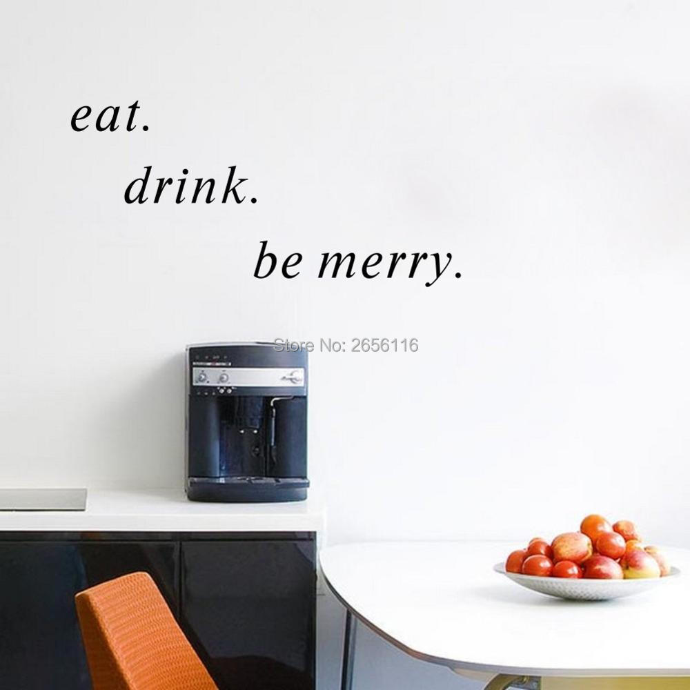 Eat Drink Be Merry Vinyl Wall Decals Art Murals for Kitchen Dining Room Decor