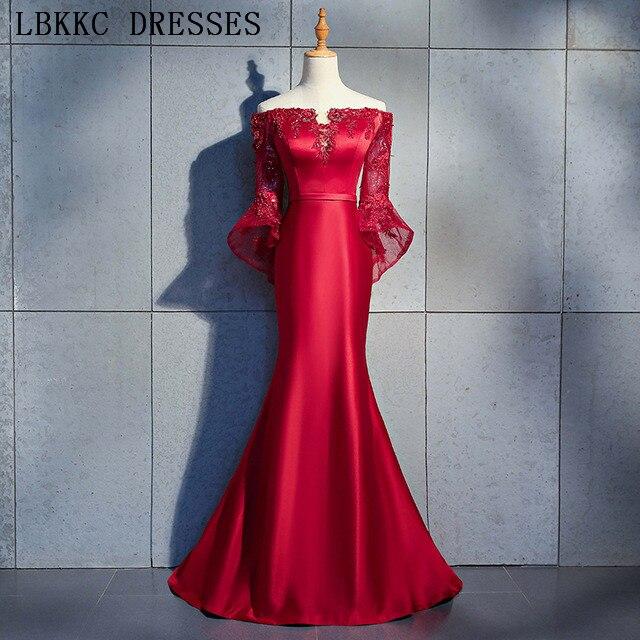 Long Sleeve Mermaid   Prom     Dresses   Off The Shoulder Vestido De Festa Satin Beading Gala Jurken Burgundy   Prom     Dress   Evening   Dress