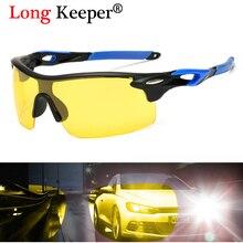 Long Keeper Mens Polarized Sunglasses Горячие продажи без оправы Желтые очки ночного видения Солнцезащитные очки Мужские вождения Очки Anti-glare Eyewears