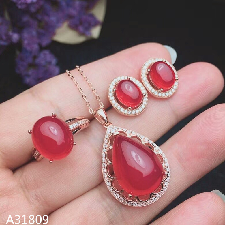 KJJEAXCMY Boutique jewelry 925 pure silver inlaid natural red chalcedony womens suit rings, pendant stud dropsKJJEAXCMY Boutique jewelry 925 pure silver inlaid natural red chalcedony womens suit rings, pendant stud drops