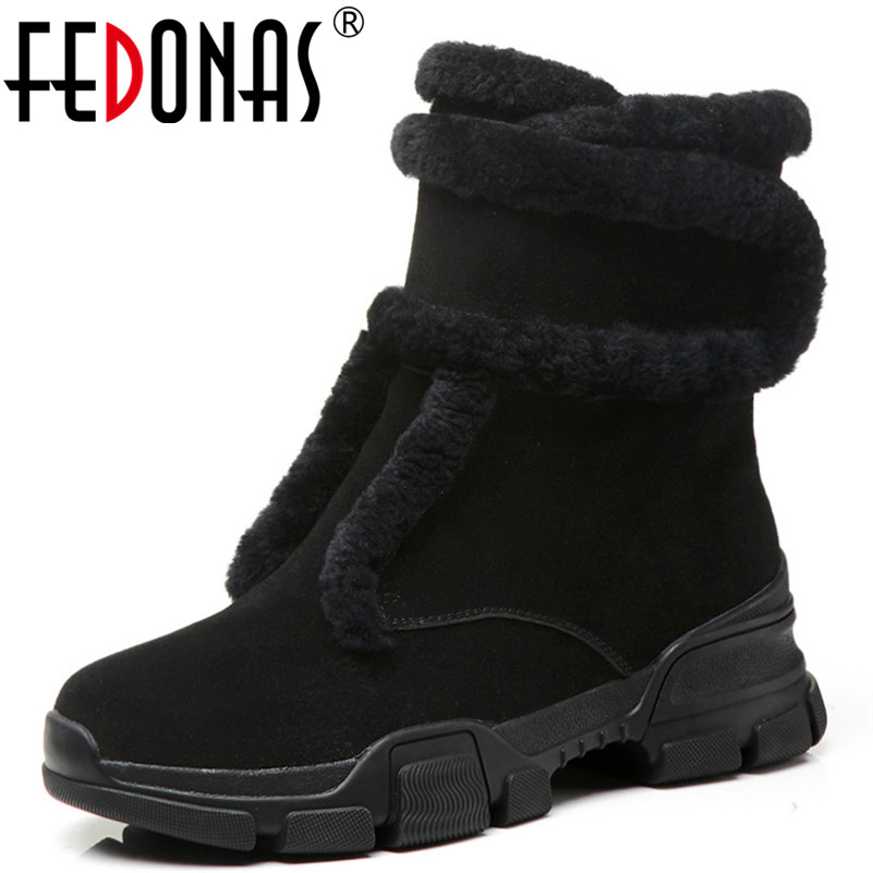 FEDONAS Brand Women Cow Suede High Heels Ankle Boots Warm Platforms Winter Shoes Woman Zipper Short Basic Boots New Martin Boots fedonas new warm autumn winter snow shoes woman high heels zipper short martin boots retro punk motorcycle boots 2019 new shoes