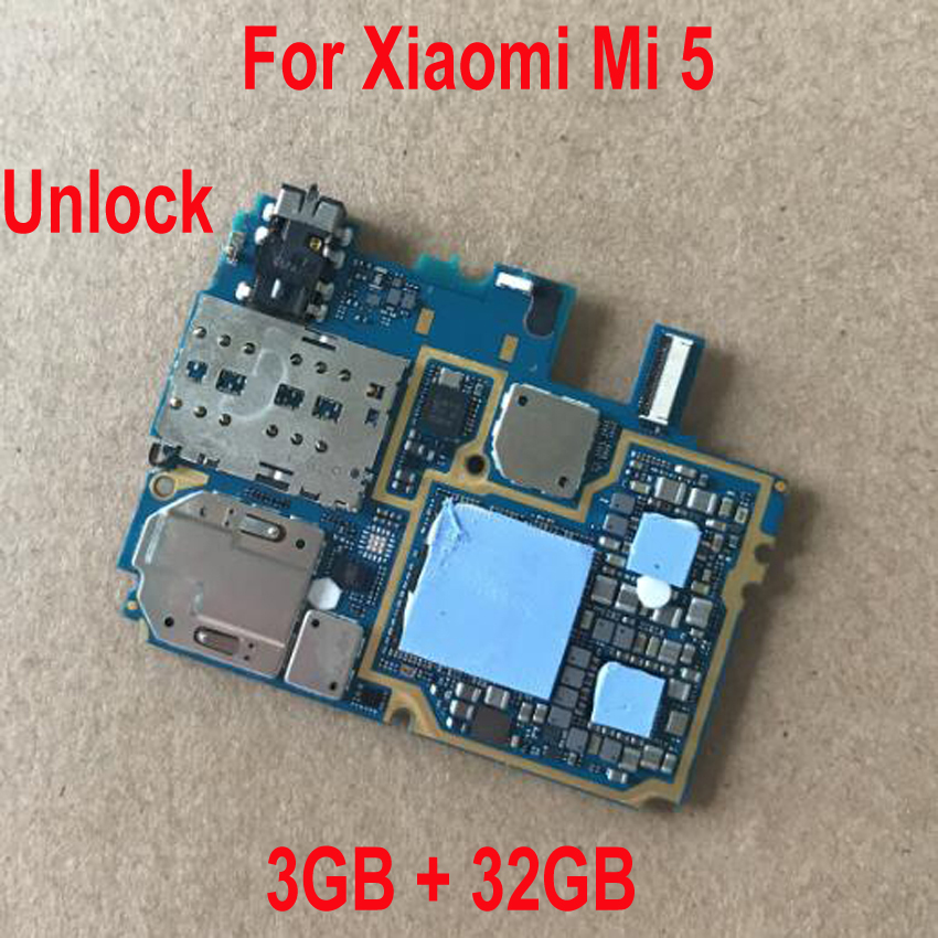 100% Original testé fonctionnement déverrouiller carte mère pour Xiao mi 5 mi 5 mi 5 mi M5 3 GB + 32 GB carte mère Global FirmWare Circuit Flex câble