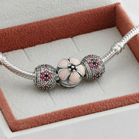 Fits Pandora Charms Bracelet and Necklace 925 Sterling Silver Charm Sets Flower Charms Beads Women Design Drop Shipping