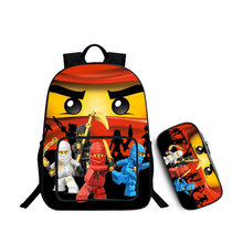 2 Set 18 Inch Ninjago 3D Fashion Schoolbag Cartoon Adventure Time Printed Children Bags Casual School Laptop Backpack For Boys 9(China)