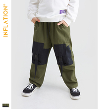INFLATION KIDS 2019 AW Casual Cargo Pants Kids Clothes 4-10T Loose Style Boy Legging 19932A