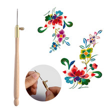 Crochet Hooks with 3 Needles 70 90-100 Wooden Handle Embroidery Needles Set Embroidery Beading Crochet Set Tool Kit(China)