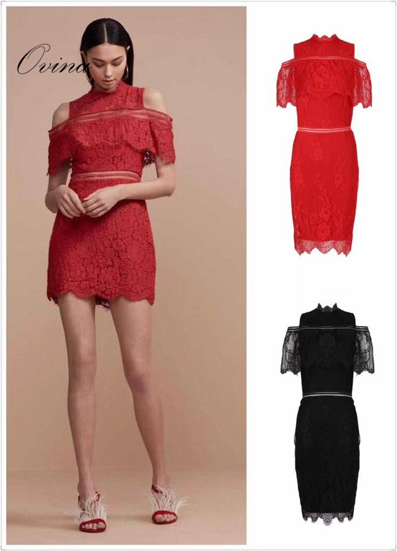 Black Red Celebrity O-neck Cap Sleeve Lace Mini Rayon Bandage Dress Night Party Dress