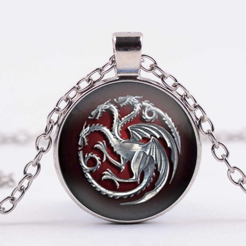 SIAN The Song of Ice And Fire Game Of Thrones สร้อยคอ House Targaryen Totem ศิลปะภาพแก้ว Cabochon จี้สร้อยคอของที่ระลึก