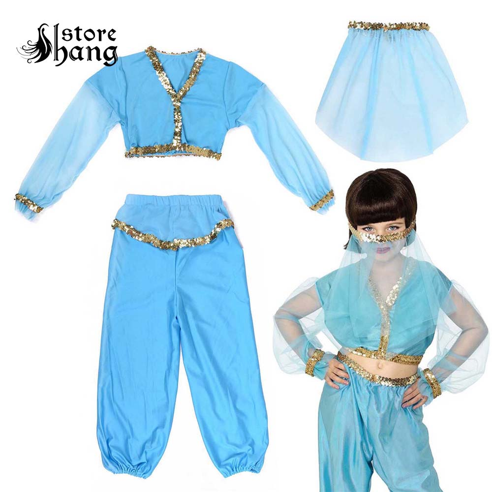 Kids Arabian Princess Costume Aladdin Jasmine Cosplay Fancy Dress Bellydancer Veil Harem Outfit Halloween Carnival Costumes