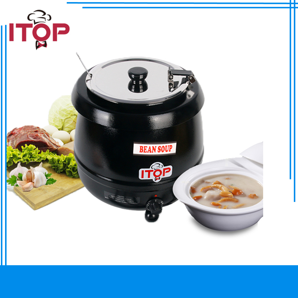 ITOP Commercial Electric Soup Kettle Warmer Stainless Steel 10Liter 110V/60Hz 220V/50Hz Wet Heat Food Cooker cukyi household electric multi function cooker 220v stainless steel colorful stew cook steam machine 5 in 1